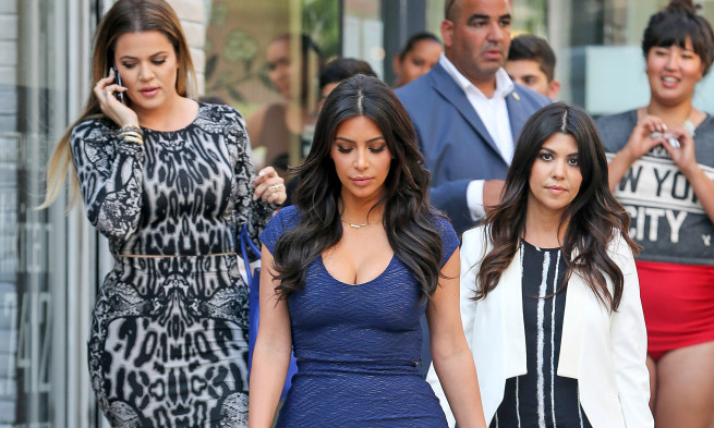 Kim, Kourtney and Khloe Kardashian seen leaving a store in SoHo, New York City