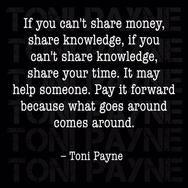 Toni Payne quote about giving back